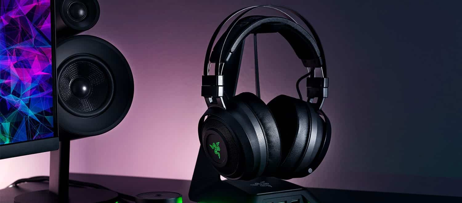 razer black gaming headset on a stand