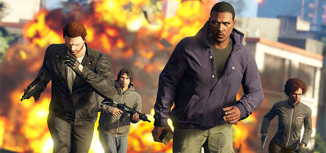 gta v four people running away from an explosion