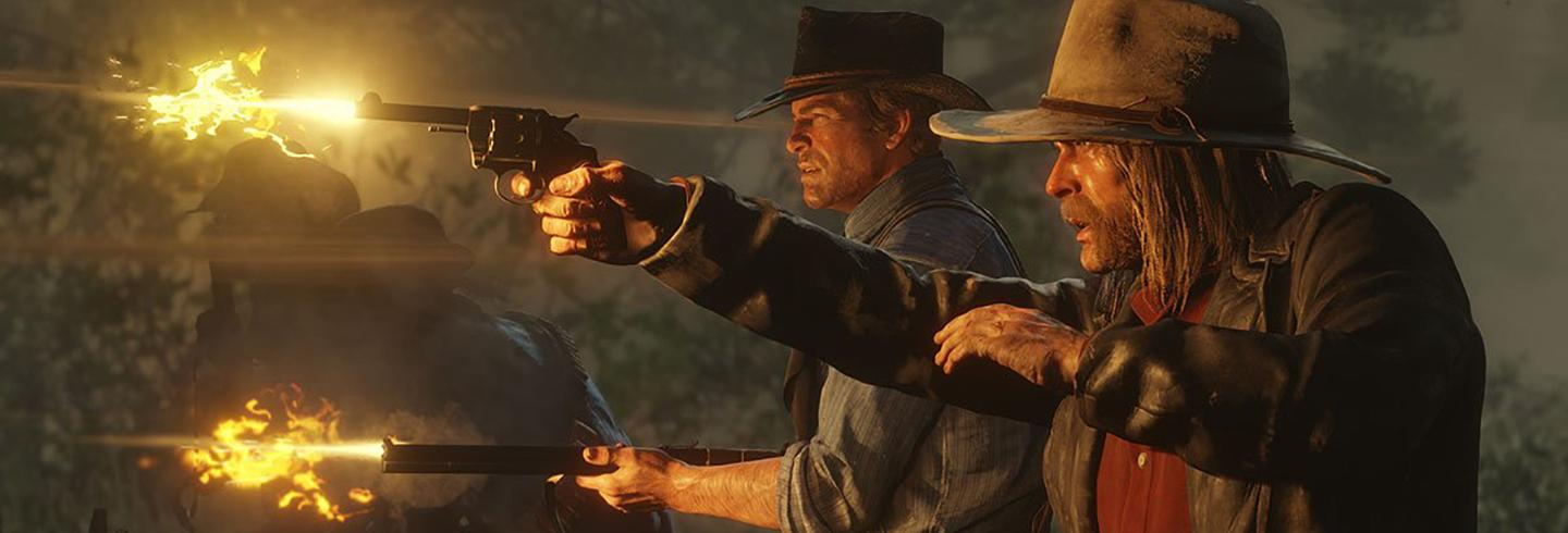 red dead redemption 2 two men shooting