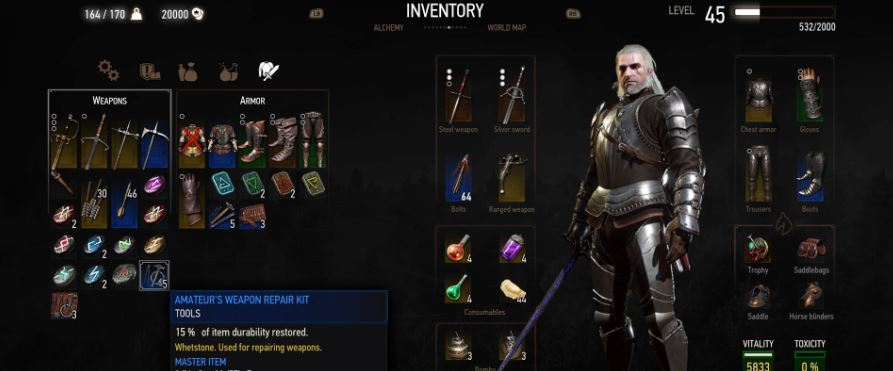 the witcher 3 wild hunt inventory