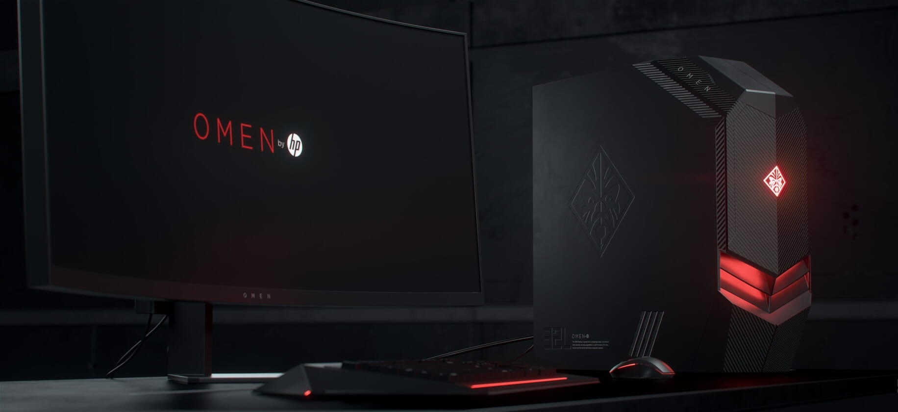 HP Omen 880 PC next to a monitor keyboard and mouse