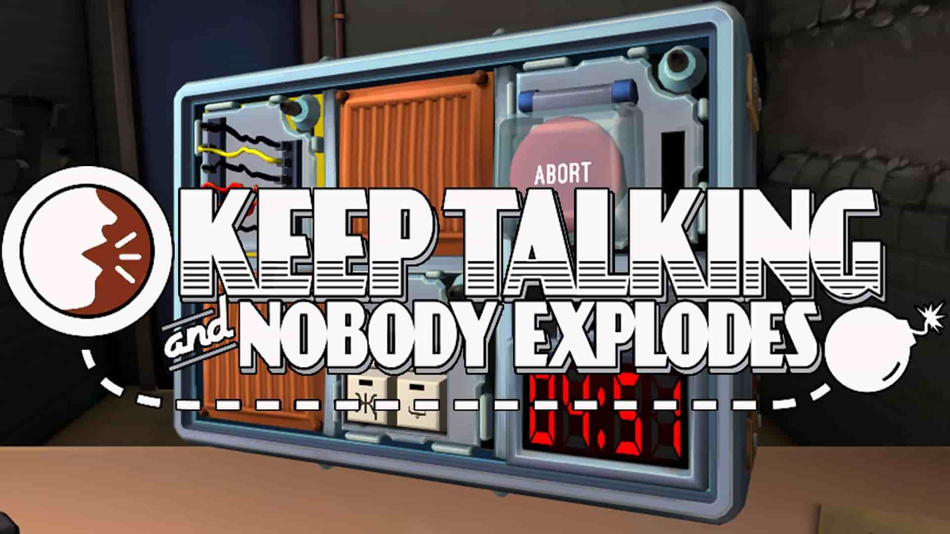 Keep talking and nobody explodes game logo on top of the bomb