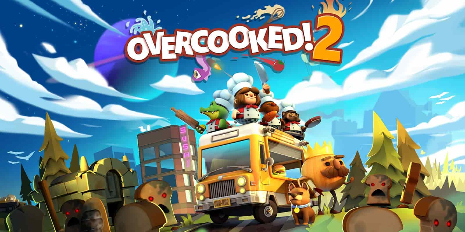 Overcooked 2 chefs on top of their foodtruck