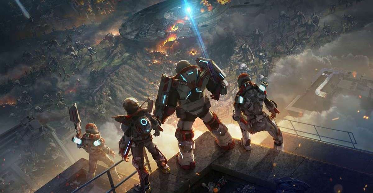Alienation main characters looking on destroyed city