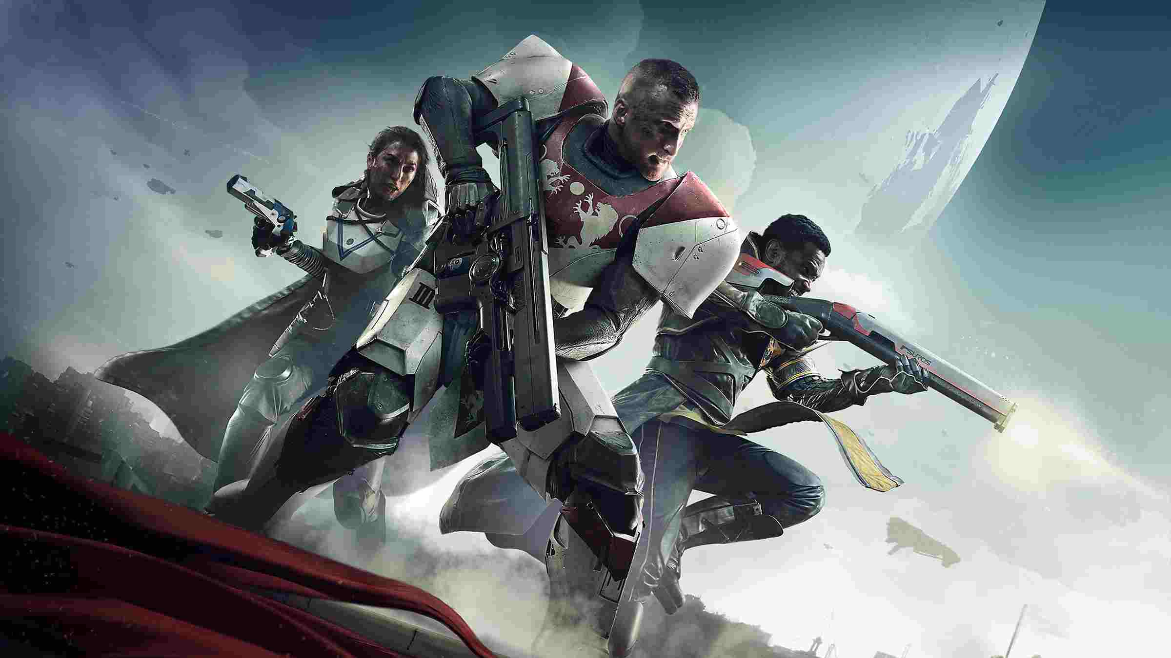 Destiny 2 main characters holding weapons