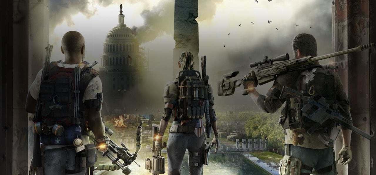 The Division 2 main characters looking at the whitehouse inflamed with smoke